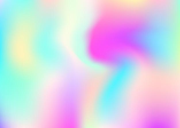 Sfondo astratto olografico. fondale olografico alla moda con maglia sfumata. stile retrò anni '90 e '80. modello grafico iridescente per libro, annuale, interfaccia mobile, app web.