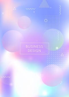 Sfondo olografico con forme liquide. gradiente bauhaus dinamico con elementi fluidi memphis. modello grafico per flyer, interfaccia utente, rivista, poster, banner e app. sfondo olografico futuristico.