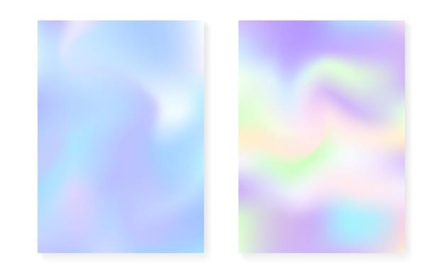 Copertina olografica con sfondo sfumato ologramma. stile retrò anni '90 e '80. modello grafico iridescente per libro, annuale, interfaccia mobile, app web. elegante copertina olografica minimale.