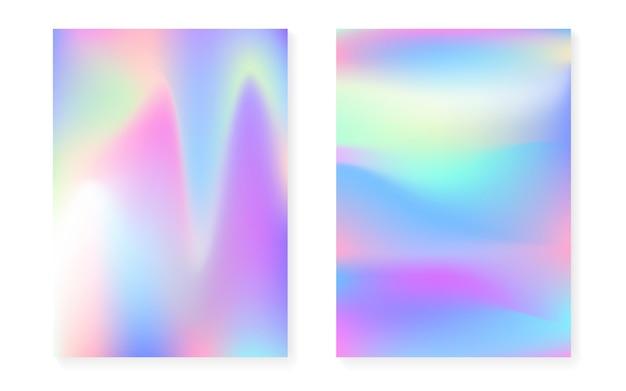 Copertina olografica con sfondo sfumato ologramma. stile retrò anni '90 e '80. modello grafico perlescente per brochure, banner, carta da parati, schermo mobile. copertina olografica minimale alla moda.
