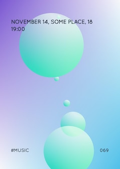 Copertura olografica con fluido radiale. forma geometrica su sfondo sfumato. modello moderno hipster per cartellone, presentazione, banner, volantino, relazione, brochure. copertina olografica minimale, colori neon.