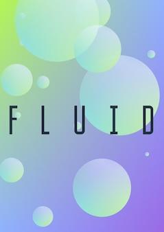 Fluido olografico con cerchi radiali. forme geometriche su sfondo sfumato. modello moderno hipster per poster, copertine, striscioni, volantini, report, brochure. fluido olografico minimale in colori neon.