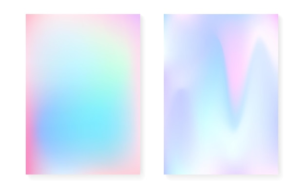 Sfondo sfumato olografico con copertina olografica. stile retrò anni '90 e '80. modello grafico iridescente per libro, annuale, interfaccia mobile, app web. gradiente olografico minimo vibrante.