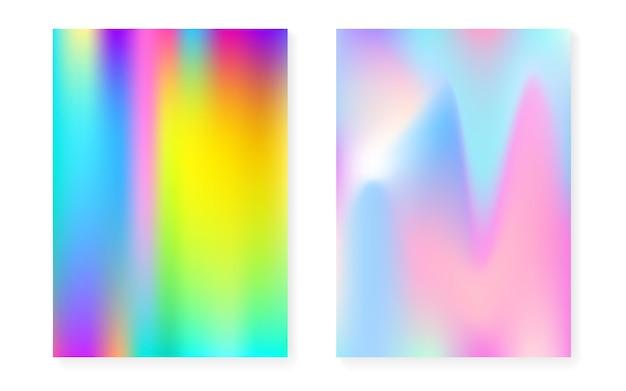 Sfondo sfumato olografico con copertina olografica. stile retrò anni '90 e '80. modello grafico iridescente per flyer, poster, banner, app mobile. gradiente olografico minimo vibrante.