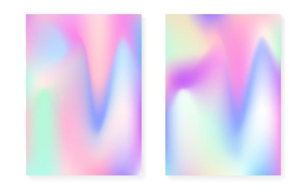 Sfondo sfumato olografico con copertina olografica. stile retrò anni '90 e '80. modello grafico perlescente per libro, annuale, interfaccia mobile, app web. gradiente olografico minimo luminoso.