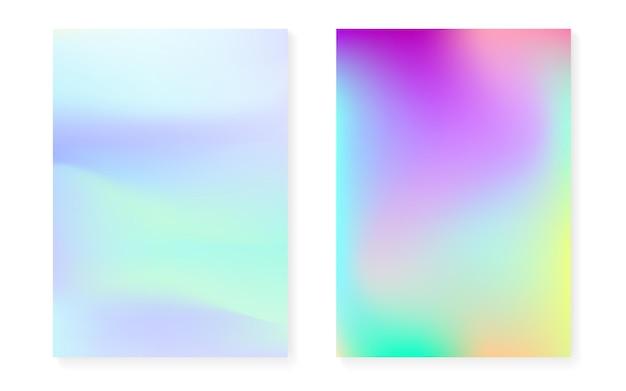 Sfondo sfumato olografico con copertina olografica. stile retrò anni '90 e '80. modello grafico perlescente per flyer, poster, banner, app mobile. gradiente olografico minimo arcobaleno.