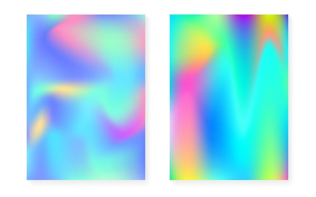 Sfondo sfumato olografico con copertina olografica. stile retrò anni '90 e '80. modello grafico perlescente per cartellone, presentazione, banner, brochure. spettro gradiente olografico minimo.