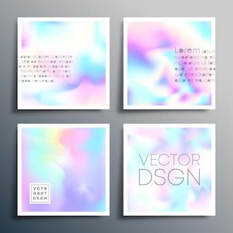 Design quadrato sfumato olografico per brochure, copertina di volantini, biglietti da visita, sfondo astratto, poster o altri prodotti di stampa. illustrazione vettoriale