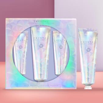 Set di tubi per crema per le mani di bellezza olografica o iridescente