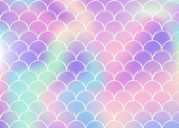Sfondo sirena olografico con scale sfumate. colori luminosi