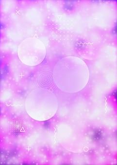 Forma olografica. punti vibranti. volantino di movimento. rivista magica dei mezzitoni. sfondo liquido. concetto di luce. fluido morbido blu. design minimalista. forma olografica viola