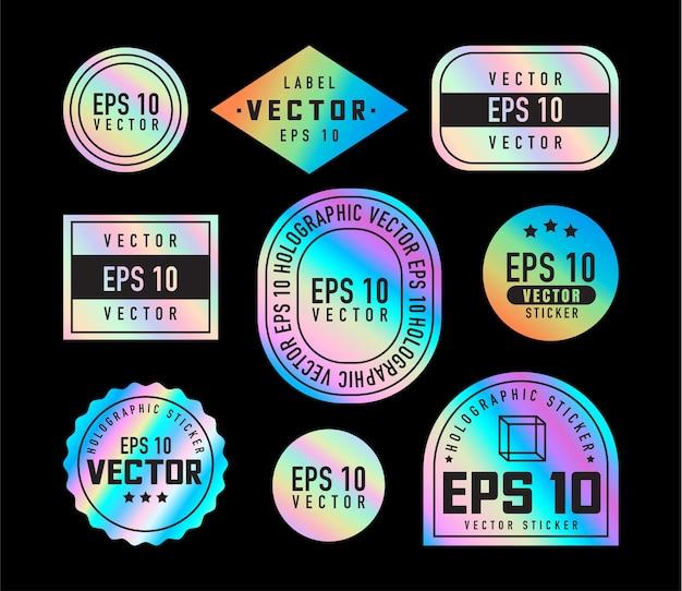 Adesivi olografici. etichette ologramma di diverse forme. emblemi lucidi colorati arcobaleno in bianco, etichetta. adesivi di carta. illustrazione vettoriale
