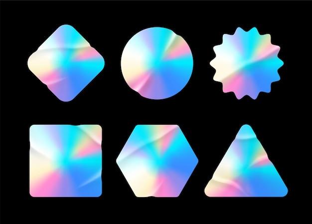 Adesivi olografici. etichette ologramma di diverse forme. forme adesive per prototipi di design. adesivi testurizzati olografici per tag di anteprima, etichette. illustrazione vettoriale