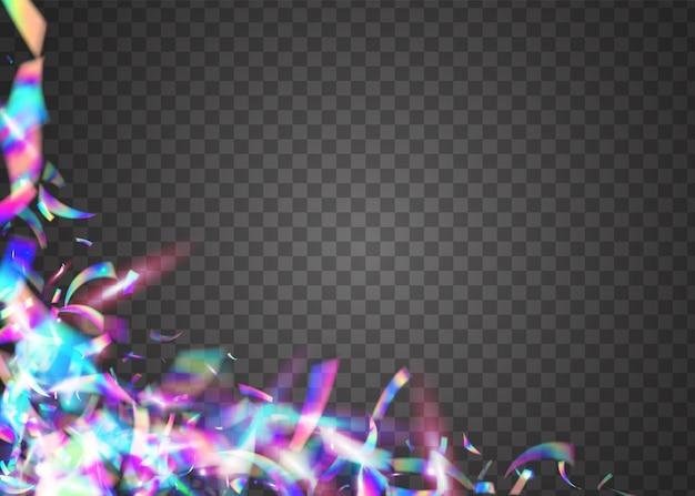 Trama olografica. coriandoli cristalli. sfondo di carnevale in metallo. scoppio laser. bagliore lucido viola. effetto compleanno. arte surreale. pellicola volante. texture olografica viola