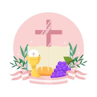 Sacra bibbia e calice con ostia per la prima comunione