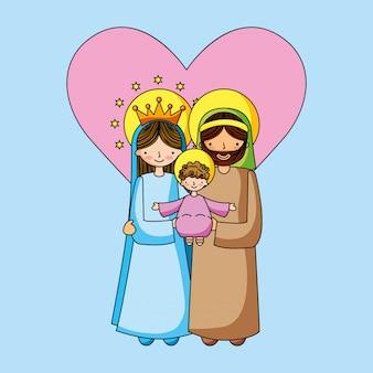 Cartoni cristiani della sacra famiglia