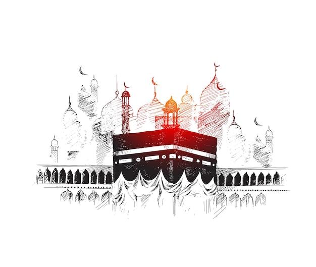 Santa kaaba in mecca arabia saudita, illustrazione vettoriale di schizzo disegnato a mano.