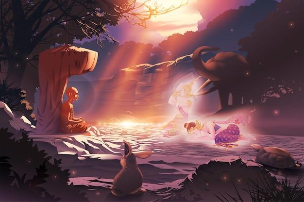Un santo monaco che ha raggiunto la più alta illuminazione sta meditando e sta dando il dharma ai deva