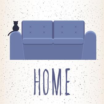 Casa. illustrazione astratta con divano lilla e citazione scritta a mano per carta di design, invito a una festa, poster del negozio di mobili, banner, cartellone, brochure per interni, t-shirt moderna ecc
