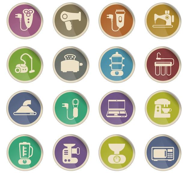 Icone vettoriali di elettrodomestici sotto forma di etichette di carta rotonde