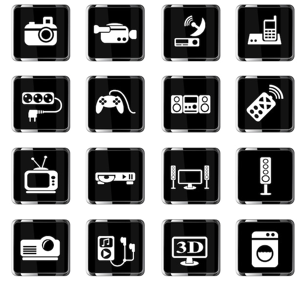 Icone web di elettrodomestici per la progettazione dell'interfaccia utente