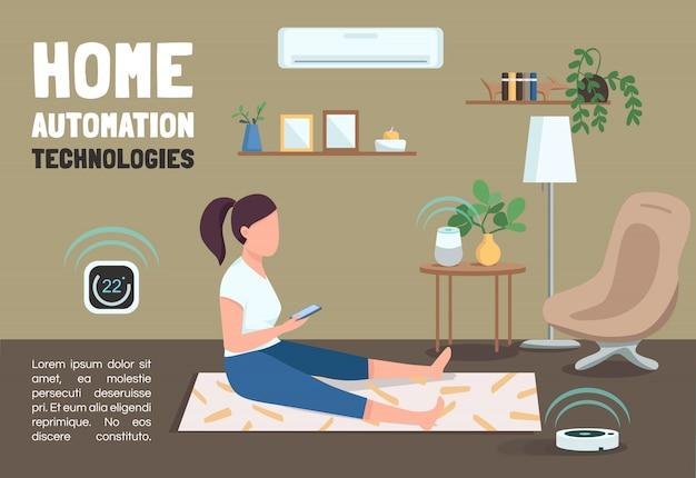 Modello della bandiera di tecnologie di domotica. opuscolo iot, concetto di poster con personaggi dei cartoni animati. volantino orizzontale di dispositivi domestici intelligenti, volantino con posto per il testo