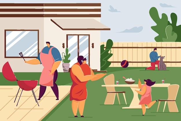 Illustrazione di casa barbecue party
