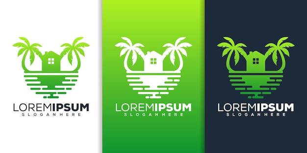 Design del logo della spiaggia di casa