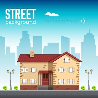 Costruzione domestica nello spazio della città con la strada sul concetto di sfondo piatto syle