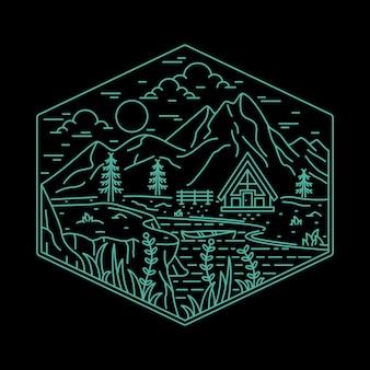 Casa campeggio natura avventura wild line badge patch pin illustrazione grafica