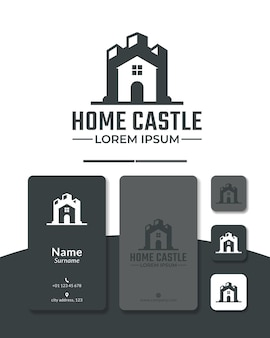 Casa castello logo design vettore fortezza palazzo