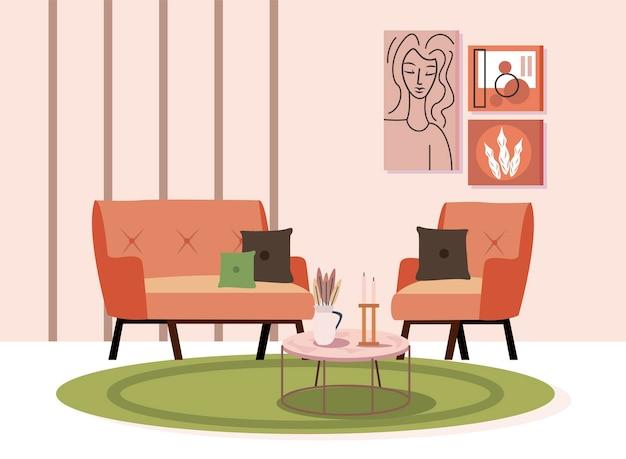 Sedia da casa e divano con tavolo