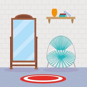 Sedia domestica e scena dello specchio mirror