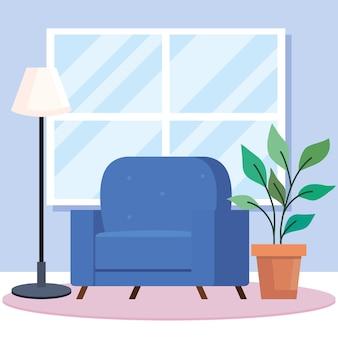 Sedia da casa con design di piante e lampade, tema della stanza e della decorazione