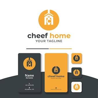 Design del logo dello chef di casa o cucina casalinga