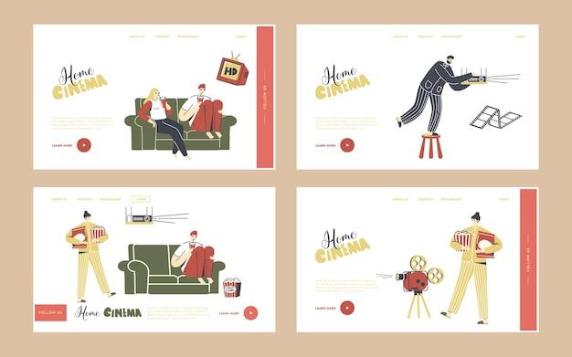 Set di modelli di pagina di destinazione dell'home cinema. persone che guardano la tv con soda e pop corn, personaggi seduti insieme sul divano in una pigra serata del fine settimana. tempo libero, tempo libero, giorno libero. illustrazione vettoriale lineare