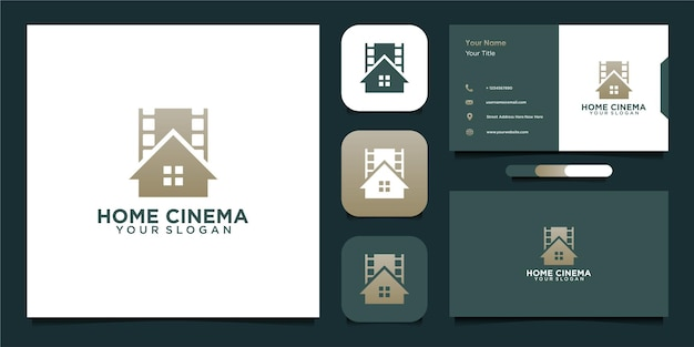 Modello di progettazione del logo home cinema con rullino e biglietto da visita Vettore Premium