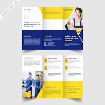Design brochure promozionale a tre ante per il servizio di pulizia della casa