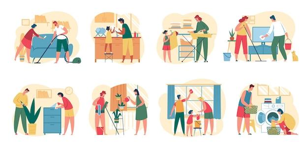 Pulizia della casa la famiglia con i bambini pulisce la casa insieme la gente lava i piatti, passa l'aspirapolvere sul pavimento, asciuga la finestra