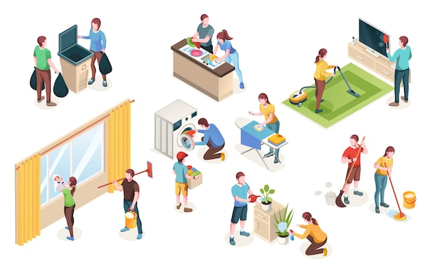 Pulizia domestica, isolata della casa pulita delle coppie della donna e dell'uomo insieme. lavanderia e stoviglie in cucina, annaffiare fiori e pulire vetri, lavare pavimenti e stirare