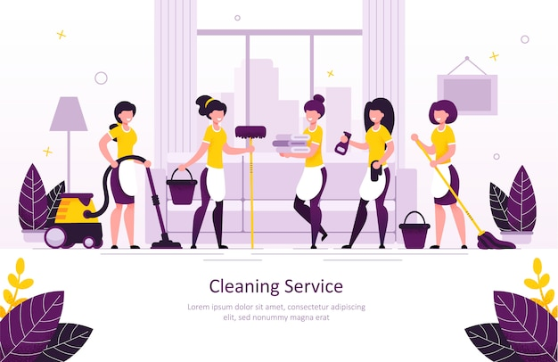 Insegna piana di promo di vettore di servizio di pulizia domestica