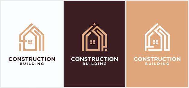 Design del logo per la costruzione della casa, logo aziendale per il design della costruzione di edifici. logo della costruzione della città, modello di vettore del logo del grattacielo