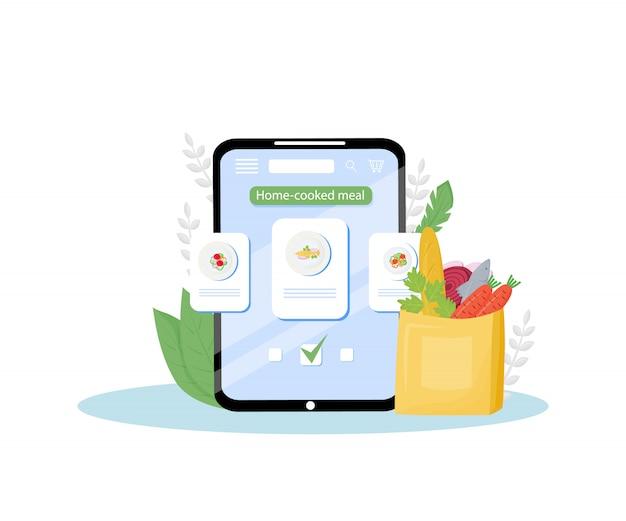 Illustrazione mobile di concetto di applicazione di ordine online dei pasti cucinati in casa. cucina casalinga certificata, servizio di consegna pasti fatto in casa. idea creativa per l'app di ordinazione nutrizionale pronta da mangiare
