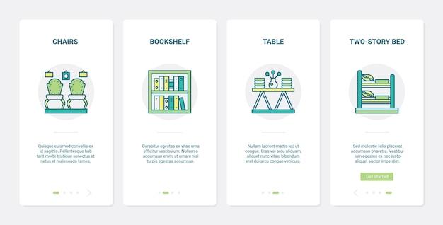 Mobili per la casa, collezione di mobili ux, set di schermate della pagina dell'app mobile per l'inserimento dell'interfaccia utente