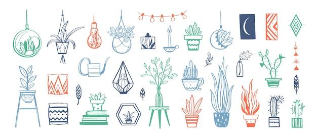 Collezione disegnata a mano di decorazioni per la casa e piante da appartamento