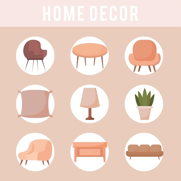 Icone dell'arredamento della casa