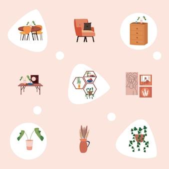 Set di icone per la casa e la decorazione
