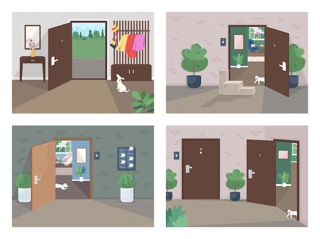 Set di illustrazione di colore piatto servizio di consegna a domicilio pacchetti di spedizione a porta stanza vuota pacco sul vano interno del fumetto casa lockdown con porte aperte e chiuse