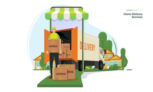 Illustrazione di servizi di consegna a domicilio