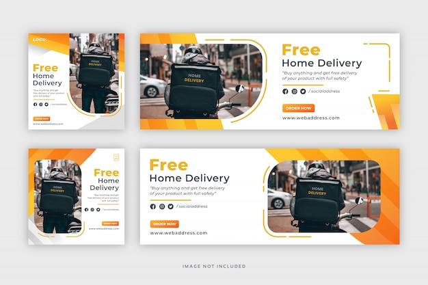 Consegna a domicilio social media post banner web e modello di copertina di facebook